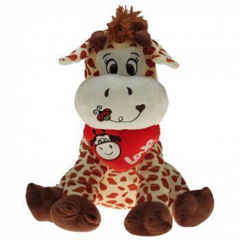 10-184320, Plüsch Giraffe 30 cm, Plüschherz mit aufwendiger Bestickung, Kuscheltier, Spieltier, Plüschtier, Waldtier, Zootier, Wildtier
