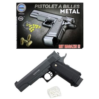 27-60328, Metall Softair Pistole 22 cm, mit Magazin und Munition