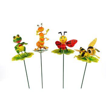 17-91121, Garten Stecker 60 cm, Tiere auf Blatt, Gartenstecker, Dekostecker, Blumen, Beete, usw