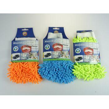 12-76608, Waschhandschuh Mikrofaser, ideal für Haushalt, Hobby, Auto, Motorrad, Küche, Bad, usw