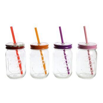17-70951, Trinkglas mit Deckel und Trinkhalm
