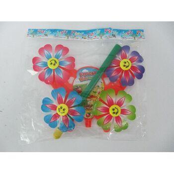 Windspiel 4 Blumen mit Lachgesicht