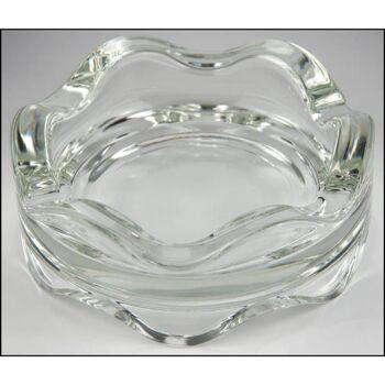 28-517242, Aschenbecher Glas Ø 120 mm, 45 mm hoch, Rand Wellenform