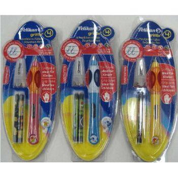 12-9608, Pelikan Füller Griffix + 2 TP lang Lernfüller, ideal für Kinder Füllhalter, für Rechtshänder und Linkshänder
