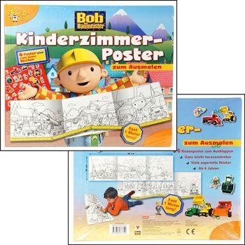 12-337309, Bob der Baumeister, 6 Kinderzimmerposter zum Ausmalen + STicker