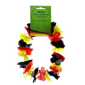 17-42700, Blüten Stirnband, Haarband Deutschland, Blumenkette, Hawaikette, BRD Farben, Party, Event, usw