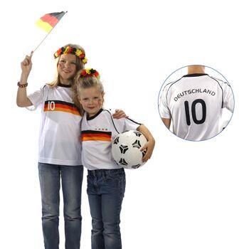 17-547496, Kinder Fußballtrikot Deutschland mit Nummer, BRD Farben, Fahne, Flagge, Party, Event, Fanmile