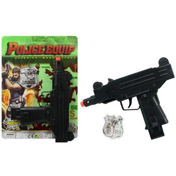 27-60337, Ratterpistole 28 cm inklusive Polizeimarke, Agentenset, Aktionset, Kostüm, Disco, Party, Event, Karneval, Fasching