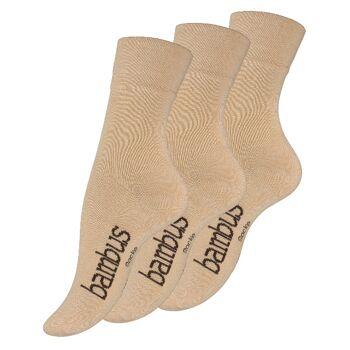 Vincent Creation® Unisex BAMBUS-Socken mit nahtloser Spitze in beige