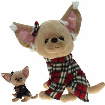 10-142030, Plüsch Hund 40 cm, Chihuahua mit Mantel und Schleife, hochwertige Qualität, Plüschhund Kuscheltier, Spieltier