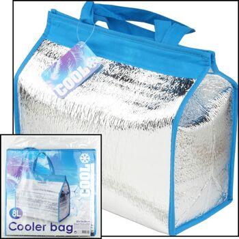 28-828420, Kühltasche 8 Liter, mit Klettverschluss, 2 Henkel, Aluminiumbeschichtet, Kühlbox