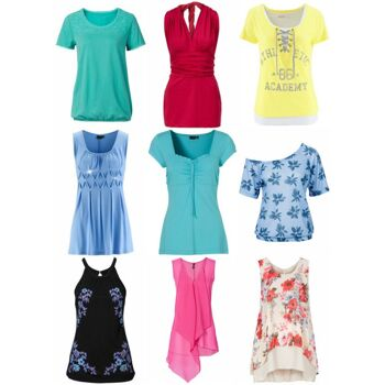 Damen Sommer Oberteile Mix T-Shirts und Tops
