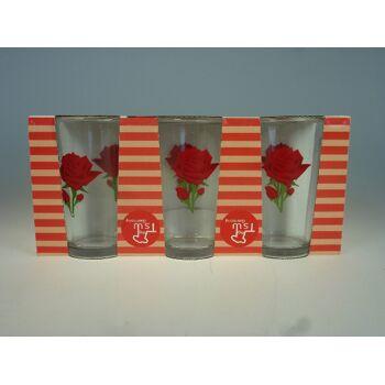 12-T102, Trinkgläser 6er Pack, Trinkglas mit Rose