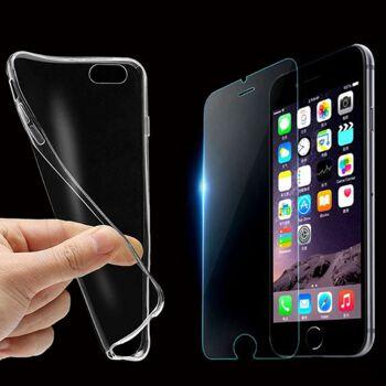 TPU HANDY HÜLLE + PANZER GLAS FOLIE SET für alle Smartphone Modelle (iPhone 6s, 7, 7 Plus, 8, 8 Plus, iPhone X, Galaxy S6 S6 Edge, S7 S7 Edge, S8 S8 Plus, Note 8, und viele mehr) Schutz Cover Transparent Silikon Schale Tasche
