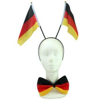 27-80073, Deutschland Fan Set 2 teilig Fahnen, Fliege, Party, Event, Fanmile, usw