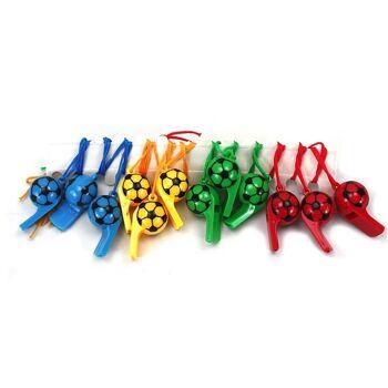 27-40044, Fußballpfeife 6 cm, Trillerpfeife mit Umhängeband, Halsband, Party, Event, Stadion Publicviewing Fanmile, usw