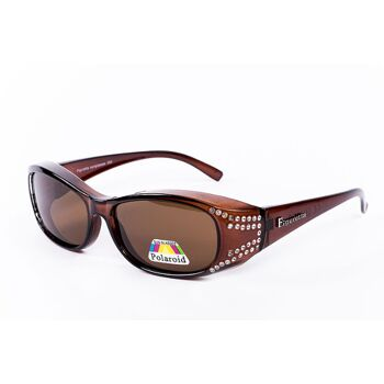 Figuretta Sonnenbrille Überbrille in weiß, schwarz, braun und Leoparden-Muster mit Strass