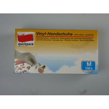 12-4000552, Vinyl Handschuhe 100er Pack, Gr. M, Einweghandschuhe für Haushalt, Hobby, Garten, Werkstatt, Camping usw