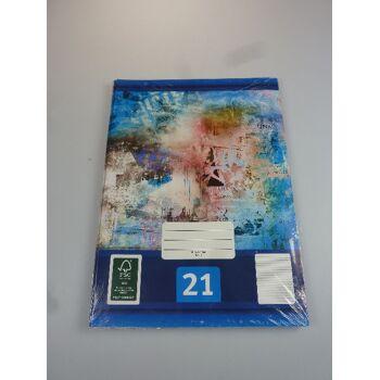 12-544214, Schreibheft 5er Pack, Nr. 21, A4, liniert, Schulheft, Schreibblock, Schreibheft