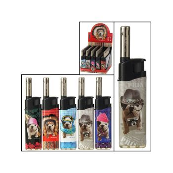 28-098186, Gasanzünder mit Hundemotiv, elektronisch, Feuerzeug, Kaminanzünder, Grillanzünder, Kerzenanzünder
