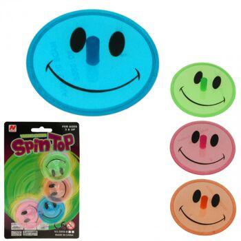 10-553019, Kreisel 4er Set mit Lachgesicht Smiley-Design