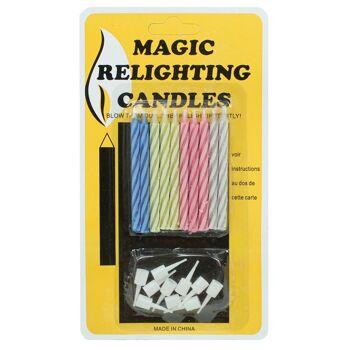27-80013, magische Kerzen mit Halter 20-teilig, Kerzen entzünden sich immer wieder