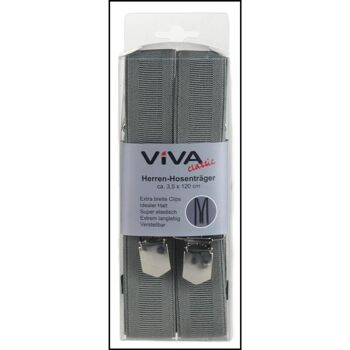 28-410135, Hosenträger unifarben verstellbar, elastisch, mit Metallclipsen