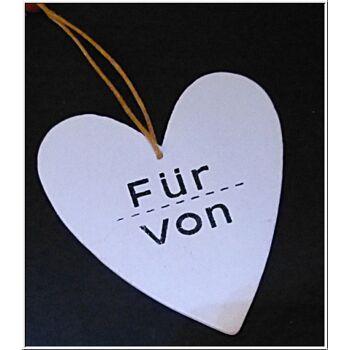 """01-po128, Holz Herz für Geschenkdeko mit Aufdruck """"Für / Von"""""""
