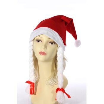 17-40122, Weihnachtsmütze Frau mit Zöpfen & Bommel, Fleece, Nikolausmütze