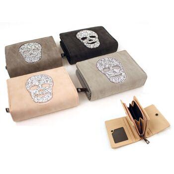 Damen Geldbörse Totenkopf Strass Portemonnaie Mix Unifarbend Lederimitat Canvas Stoff nur 4,49 Euro