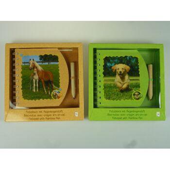 12-105136714, Brunnen Notizblock mit Regenbogenstift , Tiermotive in eleganter Geschenkbox