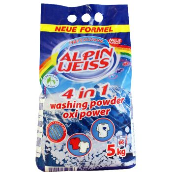 Waschmittel, Vollwaschmittel, Washing Powder, Alpinweiss 10 kg= 133 WG Plastikbeutel, OXI POWER