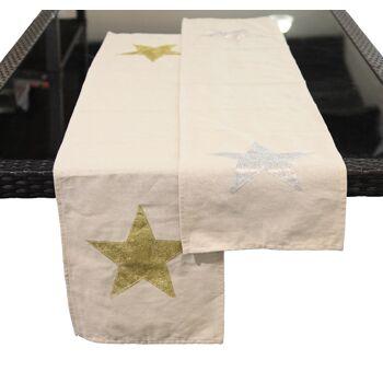 17-51406, Tischläufer Stern 145x30cm, Weihnachten, Tischdeko