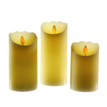17-71511, LED Kerze 12,5 cm, mit beweglicher Flamme, rau,elfenbein mit Timer