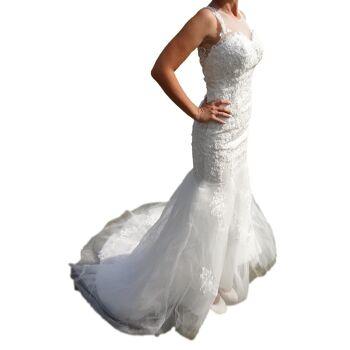 Hochzeitskleid Brautkleid DH3037 weiß mit Spitze Taille betont Gr. XS 34 / S 36 / M 38 / L 40