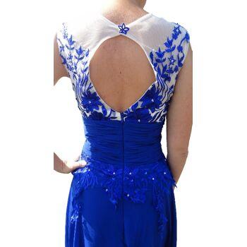 langes Abendkleid DH1503 blau mit Blumenmuster Gr. XS 34 / S 36 / M 38 / L 40 Ballkleid Brautjungfern Kleid