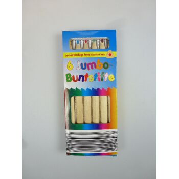 12-1102224, Jumbo-Dreiecksbuntstifte 6er Pack, extra dicke dreieckige Buntstifte ideal für Kinderhände, Malstifte, Buntstift