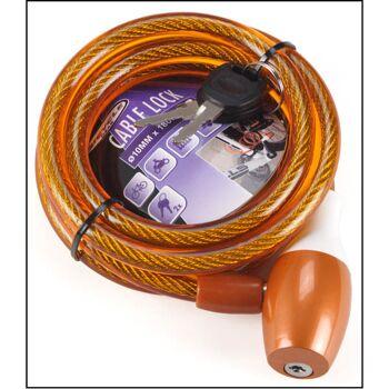 28-141756, Fahrrad Spiralschloß Ø 10mm, 1800 mm lang, inkl. 2 Schlüssel, Sicherheitsschloss