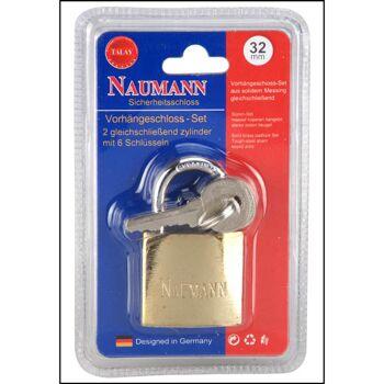 28-270155, Vorhängeschloss Messing 32 mm, inklusive 3 Schlüssel