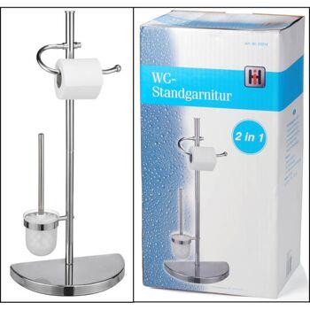28-332146, WC-Garnitur Metall verchromt, WC-Bürste mit Ständer und Toilettenpapierhalter
