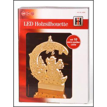 28-548080, Holz LED-Fenster-Dekobeleuchtung, 31 x 22,5 cm, Schneemann, 10 LED´s,