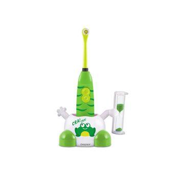 Beper 40.996 elektrische Zahnbürste für Kinder im Frosch Design mit Sanduhr