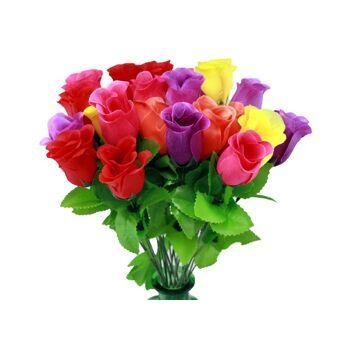 27-10558, Rosenknospe bunt 46 cm, Kunstblume, Seidenblüten, Rose