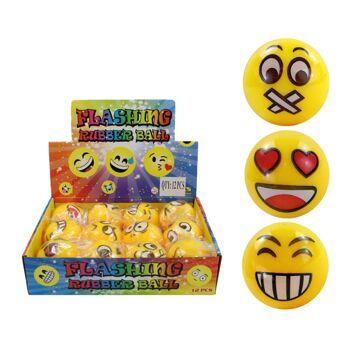 27-83210, Ball Leuchtball Springball gelb mit Gesichtern LED Licht, blinkend