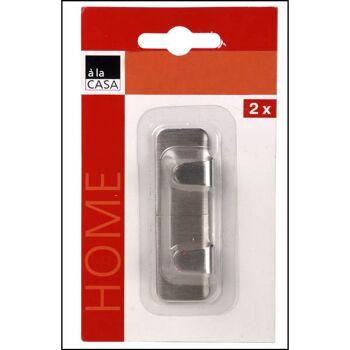 28-312234, Metall Hakenleiste 2er Pack, selbstklebend, für Handtücher, Lappen, usw
