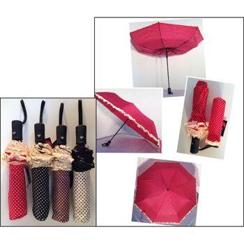 28-732803, automatik Taschenschirm 100 cm, mit Punkten und Spitze, Regenschirm