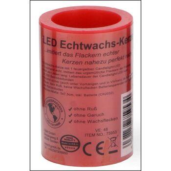 28-759534, LED Echtwachskerze rot 7,5x5cm, LED-Flamme versenkt und mit kerzentypischem Flackerlicht