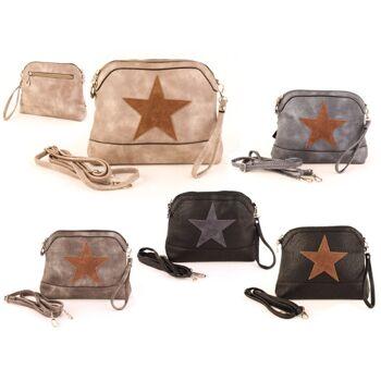 Damen Taschen Stern Mix Canvas Stoff Leder Applikation Kulturtasche Clutch - 8,90 Euro