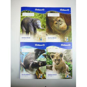 12-224824, Pelikan Zeichenblock A4 Tierkinder Motive, Malen, Zeichnen