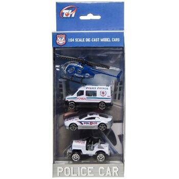21-3010, Metall Polizei Einzatzfahrzeuge 4er Set mit Hubschrauber, Metallauto, Modellfahrzeuge